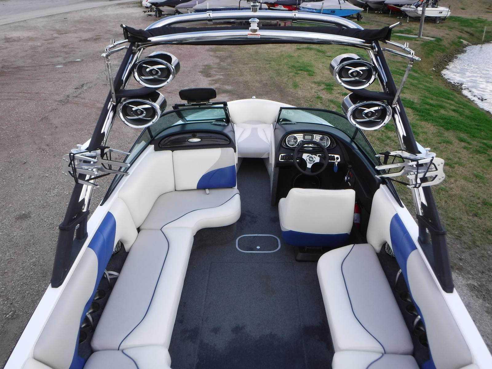 Bird's eye view of the deck of a Malibu Wakesetter Ski Boat